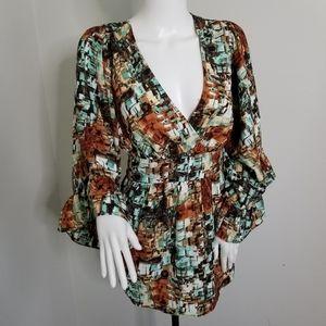 Betsey Johnson kimono belted blouse SZ XL